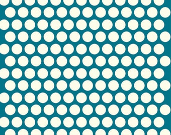 Organic Teal Polka Dot Fabric - Birch Dottie 1/2 Yard