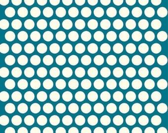 Organic Teal Polka Dot Fabric - Birch Dottie 1 Yard