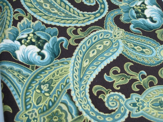 Brown Turquoise Gold Paisley Fabric By Fabric Traditions