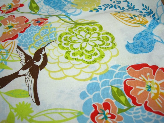Bright, Colorful Floral and Bird Fabric - 1/2 yard