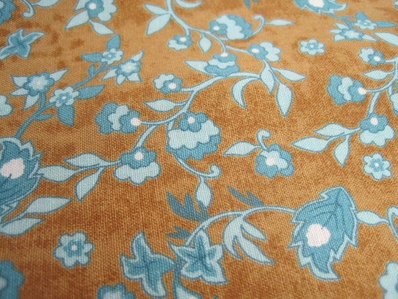 Brown And Turquoise Floral Fabric One Yard