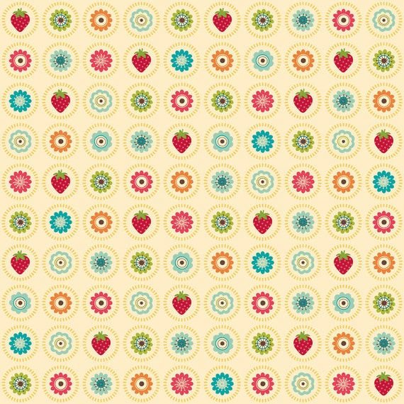 CLEARANCE - Colorful Floral and Strawberry Fabric - Fly a Kite by Riley Blake 1/2 Yard