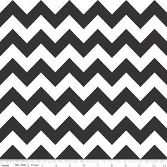 Black and White Chevron Cotton Fabric by Riley Blake Designs - 1/2 Yard