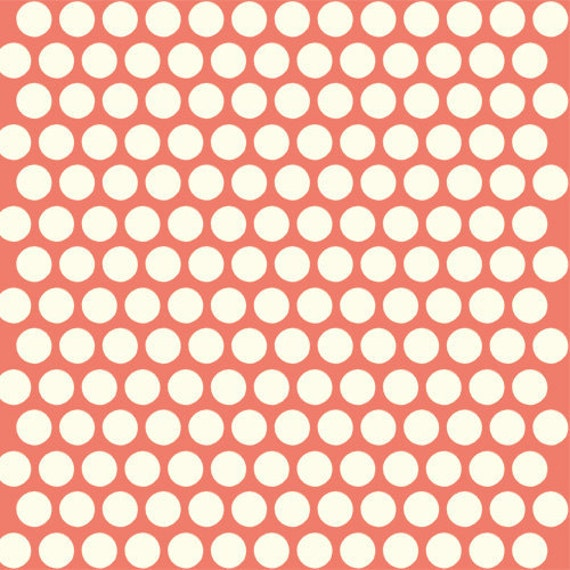 organic coral polka dot fabric birch dottie 1 yard