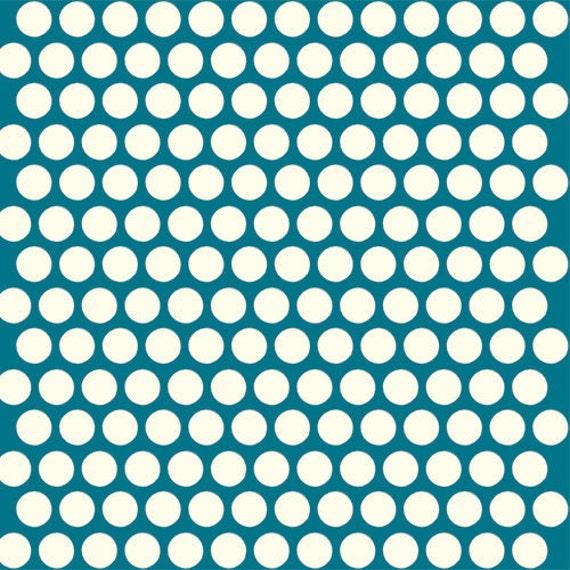 Organic Teal Polka Dot Fabric Birch Dottie 1/2 By