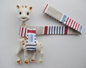 Toy Leash Tether Strap for Sophie The Giraffe & other toys --  Red White and Blue Stripes