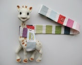 Toy Leash Tether Strap for Sophie The Giraffe & other toys -- Rainbow Stripes