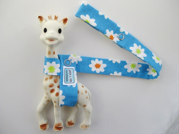 Sophie The Giraffe Toy Leash -- Blue with White Flowers