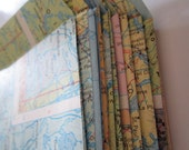 Vintage Map stationery-4 by 5 inch pocket envelopes---Set of 20---with hand made map heart notecards