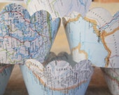 Cupcake Wrappers, Vintage Map Decor, Your Choice of Maps, Travel Theme Wedding, Vintage Travel Theme