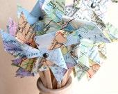 KIT/DIY Pinwheels, Cupcake Toppers, Pinwheel Cupcake, Map Pinwheels, Vintage Wedding, Small Pinwheels, Map Place Card, Travel Theme