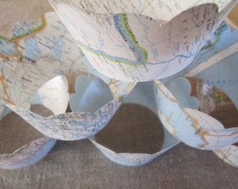 Destination wedding travel theme Cupcake wraps vintage maps atlas  cupcakes wrappers vintage map shabby chic