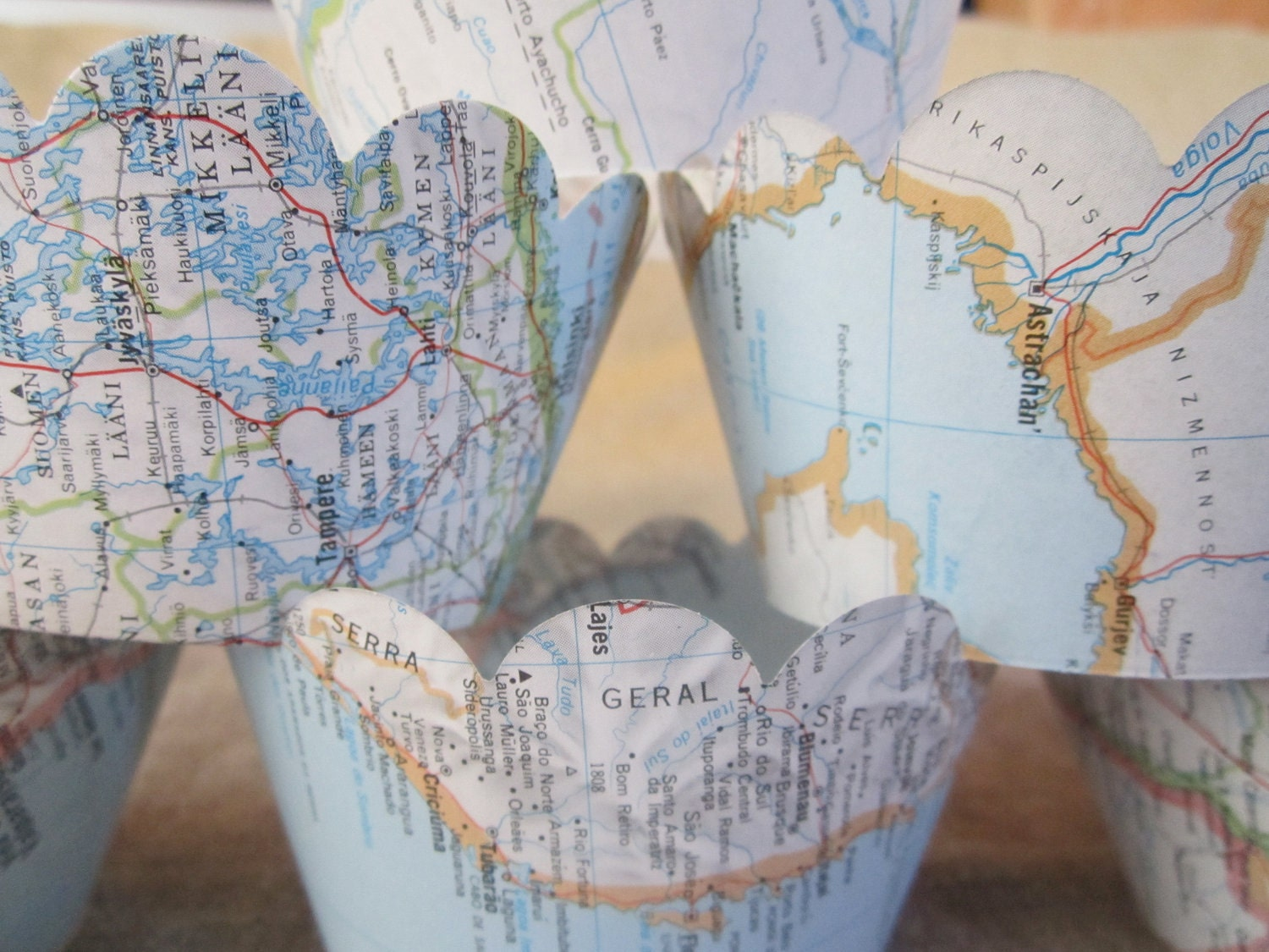 Cupcake Wrappers Vintage Map Decor Your Choice Of Maps