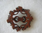 Vintage Wood Carved Art Deco Wreath With Heart Brooch