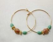 SALE Czech Faceted Glass Beaded Dangle Hoop Pierced Earrings. CKDesigns.us