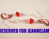 RESERVED FOR JEANNELAMP Enamel Heart, Red and Pink Swarovski Crystal Dangling Beaded Pierced Earring. CKDesigns.us