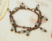 SALE Light Turquoise Swarovski Crystals and Brass Chain Beaded Bracelet. CKDesigns.us