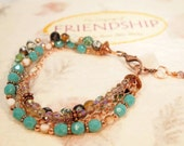 Boho Bracelet. Czech Glass Beads, Cooper Beads, Copper Metal Chain Bracelet. CKDesigns.us