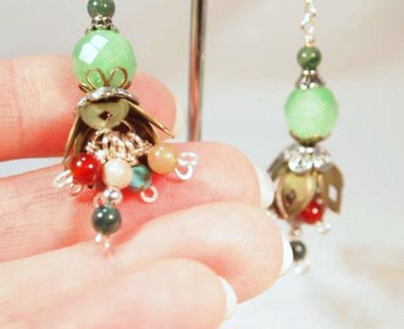 SALE Green Agate Budding Flowers Pierced Dangle Earrings   CKDesigns.us