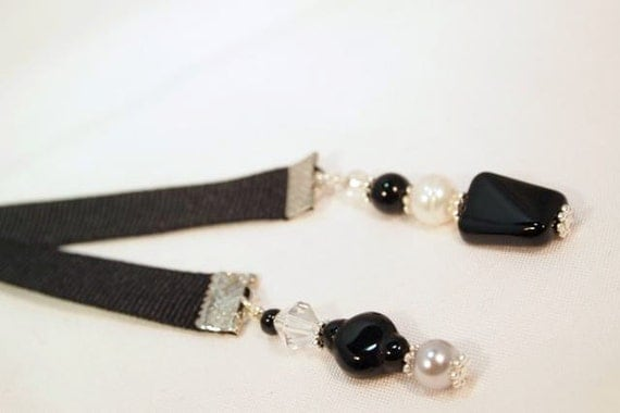 Black Ribbon, Glass Beads, Pearls and Silver Beaded Ribbon Bookmark. CK Designs