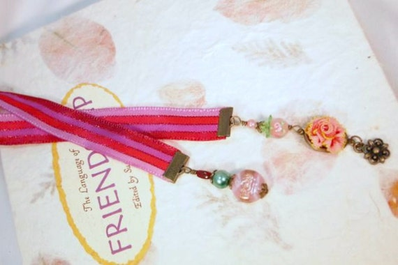SALE, Pink and Purple Ribbon, Glass Beads,Lampwork and Flower Charm Beaded Ribbon Bookmark. CK Designs.us