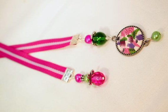 Stripped Ribbon, Glass Beads and Silver Beaded Ribbon Bookmark. CK Designs