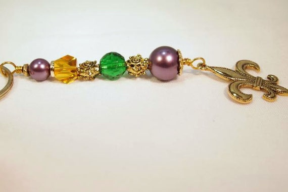 Gold Fleur De Lis Charm Key Ring, Glass Pearls, Gold Beads And Gold Spacers, Beaded Charm Key Chain. CKDesigns.us