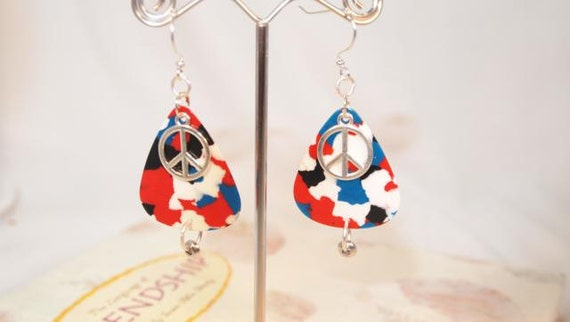 Red, White and Blue Guitar Picks, Peace Sign Charm Dangle Pierced Earring. OOAK Handmade Earrings. CKDesigns.US