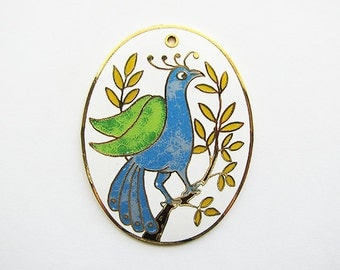 Enamel Vintage Peacock Pendant - green, blue, gold, white