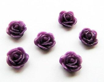Lucite Purple Rose Cabochons