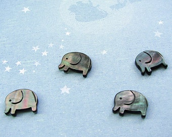 Hand-carved Black Mother of Pearl Elephant Beads