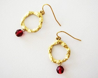 Wholesale Earrings - (6 Pairs) Matt Gold Connectors with Garnet Red Beads