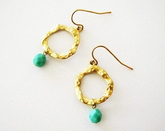 Wholesale Earrings - (3 Pairs) Matt Gold Connectors with Turquoise Beads