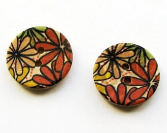 Floral Wooden buttons - orange, green, yellow, 20mm