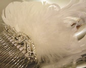 White Feather and Rhinestone Bridal Fascinator