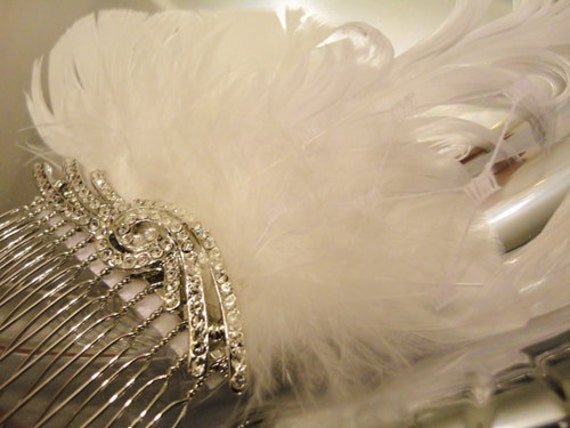 White Feather and Rhinestone Bridal Fascinator