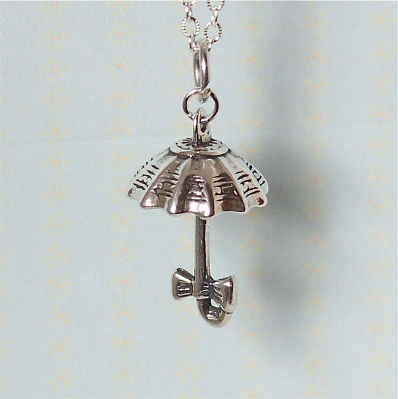 Umbrella Necklace - Sterling Silver 925 - Vintage Umbrella