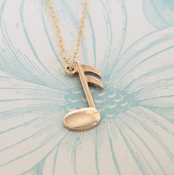 Music Note Necklace - Gold Music Note - Vintage Music Note Charm
