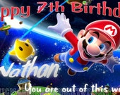 Super Mario Brothers Personalized Custom Vibrant Artist Vinyl Birthday Banner Party Decoration