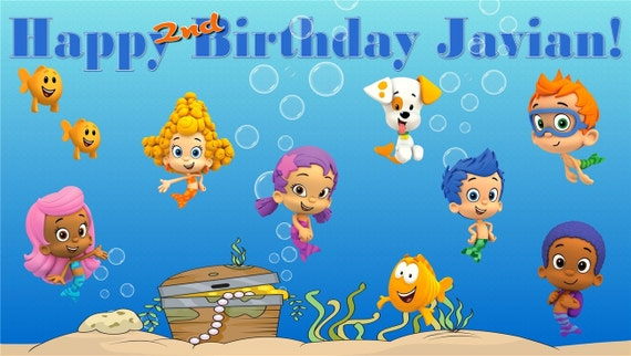Bubble guppies personalized custom vibrant artist vinyl - Bubble guppies birthday banner template ...