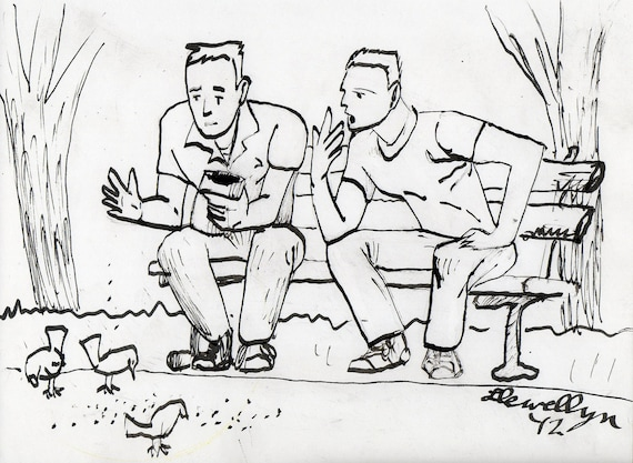 Talking Is For The Birds - ink drawing