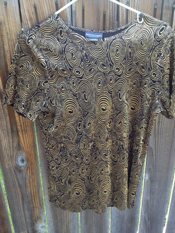 SALE Vintage Pleated Gold and Black Shirt