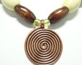 Tribal Style Necklace In Jade Mother Of Pearl and Wood