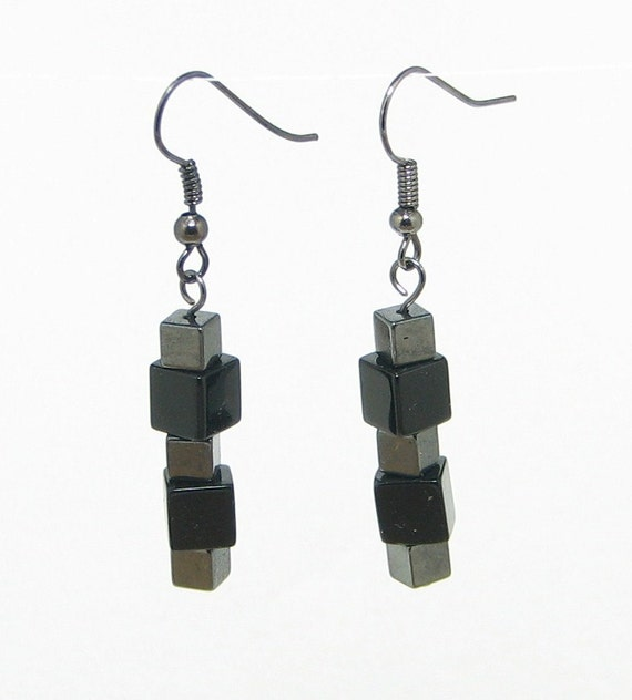 Earrings With Hematite and Black Glass Bead Cubes With Gunmetal Finish
