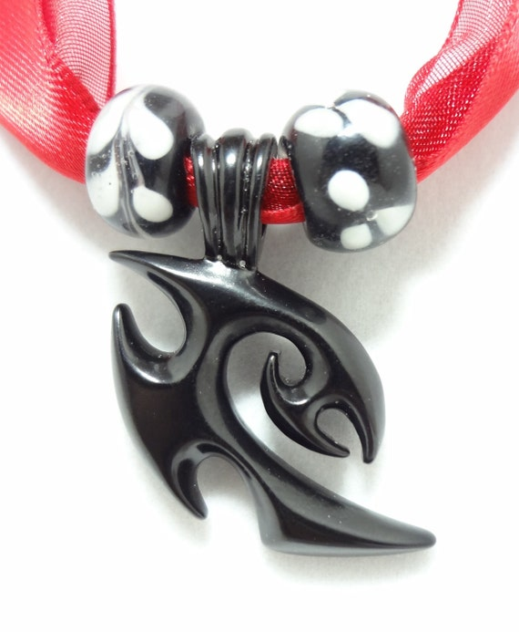 Tribal Choker Necklace On Double Red Ribbon With Lampwork Beads in Black and White