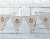 Cupcake Hand Stitched Burlap Banner