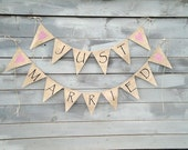 Just Married Burlap Banner Bunting with Pink Hearts