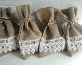 Burlap Gift Bag with Ivory Lace, Set of 4