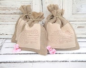 Burlap gift bags with french script, set of 4