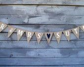 Mr & Mrs personalized burlap banner with your last name
